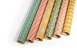"Kraft Multi Color Printed Wrapping Paper Set - 6 Rolls - Multiple Patterns - 30"" x 120"" per Roll"