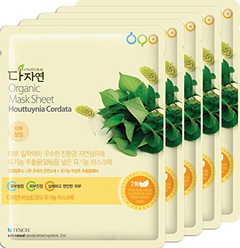 All Natural [Dajayeon] Organic Houttuynia Cordata Korean Full Face Facial Mask Sheet - 99% Naturally Derived - Collagen Boosting, Anti-Inflammatory, Clears Acne (5-pack)