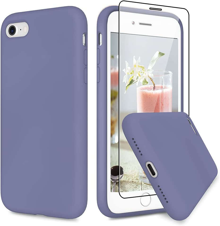 VEGO Compatible for iPhone 8 Silicone Case, iPhone SE 2020/iPhone 7 Slim Rubber Case with Tempered Glass Screen Protector, Microfiber Lining Shockproof Cover for iPhone 7/8/SE 2020 4.7 inch - Lavender