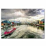 Irlanda Liffey River Dublín Rompecabezas para Adultos, 300 Piezas, Rompecabezas de Madera para niños, Regalo de Viaje, Recuerdo, 16.5 × 12 Pulgadas