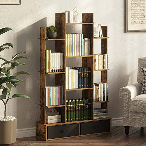 Rolanstar Bookshelf Bookcase with Drawer Free Standing Tree Bookcase Display Floor Standing Storage Shelf for Books CDs PlantsUtility Organizer Shelves for Living Room Bedroom Home Office