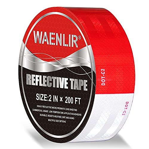 2 inch x 200Feet Reflective Safety Tape DOT-C2 Waterproof Red and White Adhesive conspicuity tape for trailer, outdoor, cars, trucks