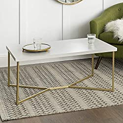 Marble Gold Mid Century Modern Rectangle Coffee Table