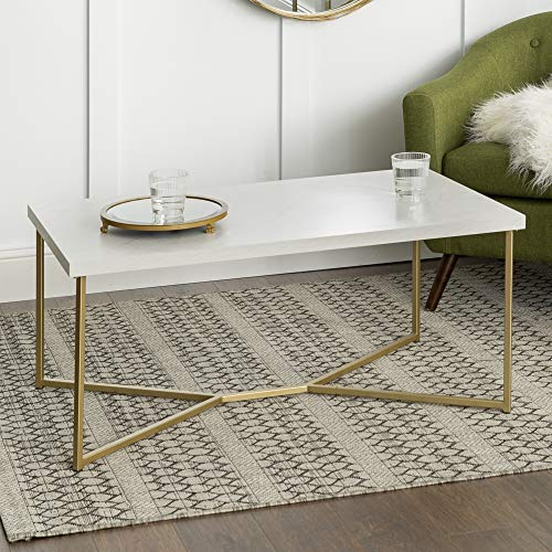 Walker Edison Marble Gold Mid Century Modern Rectangle Coffee Table