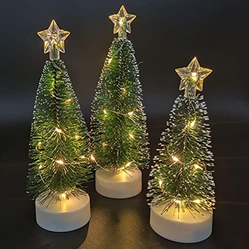 POXIAO Luce Bianca Calda a LED Alberi di sisal Artificiali Alberi di Natale da Tavolo Albero di Pino Spazzola per Bottiglie di plastica Alberi Ornamenti di Gelo di Neve con Base in Legno