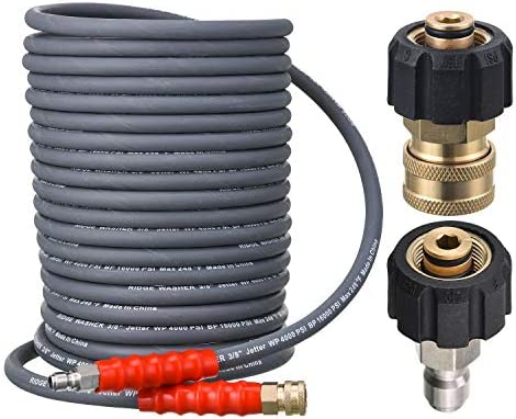 RIDGE WASHER Pressure Washer Hose 50 Feet X 3 8 Inch for Hot and Cold Water with M22 14 15mm product image