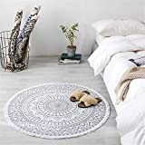 Deike Mild Mandala Runde Teppich, Bohemian Style Cotton Washable Teppich für Wohnzimmer Schlafzimmer Durchmesser 92cm (Grau)