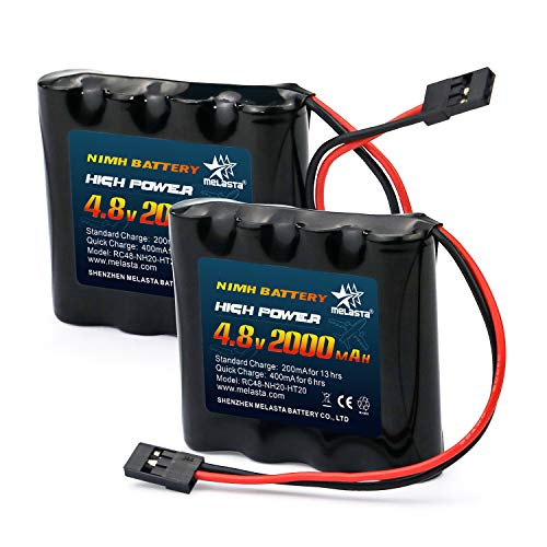 melasta RC Receiver Battery 4.8V 2000mAh NiMH for Futaba RC Airplane Servo Controller Radio Transmitter Batteries Pack Rechargeable(2-Pack)