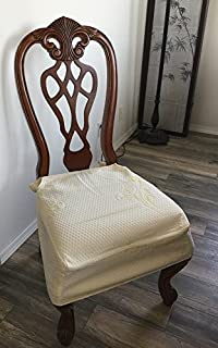 OctoRose Premium Quality 3 Layer Quilted Chenille with fiberfill and TPU Waterproof Backing Set of Two Chair Covers Chair Seat Covers, Chair Protector