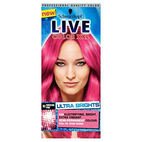 3 x Schwarzkopf Live Color XXL Ultra Brights Semi-Permanent Colour 93 Shocking Pink