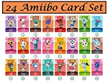 24pcs NFC Tag Mini Cards for ACNH New Horizons Animal Villagers Switch/Switch Lite/Wii U with Crystal case