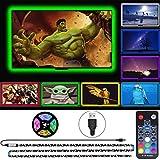 TV LED Backlight, 9.85Ft LED Lights for TV 40-60 Inch, USB LED Strip Lights Kit with 18-Key RF Remote, 5050 Color Changing RGB LED Strip Bias Lighting for HDTV Monitor Game Room Under Cabinet Lighting