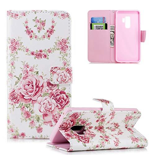 HMTECH Galaxy S9 Plus Coque Rosa Fleur Slim Housse Étui PU Cuir Housse Coquille Couverture Magnétique Stand Compatible with Samsung Galaxy S9 Plus,Pink Flower FD