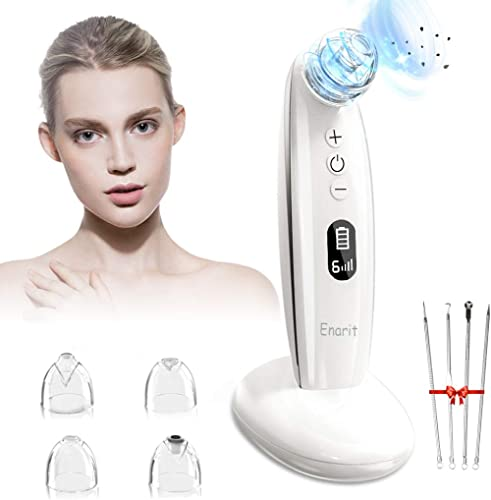 Enarit Blackhead Remover Pore Vacuum, Electric Facial Pore Cleanser, With 4 Different Suction Heads and 6 Level Black...