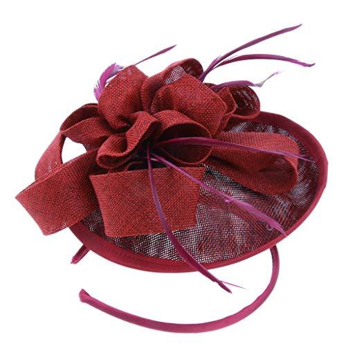 Baoblaze Femmes élégantes Fascinator chapeau nuptiale cheveux clip accessoires Mariage Formal Occasion - Noir/Beige/Rouge/Bleu - rouge