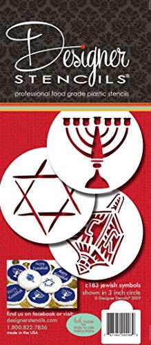 Designer Stencils Jewish Symbols Cookie and Cupcake Stencils (Dreidel, Star of David, Menorah), Beige/semi-transparent