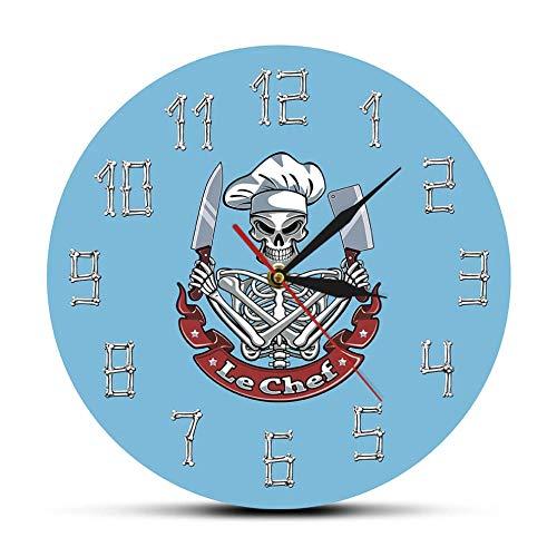 Wjlytf Le Chef Skeleton Cooking Reloj de Pared acrílico Moderno Cráneo con...