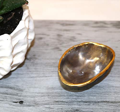 Keramunzel KERA-Mystic Kaviar Schale Schnecke mit 24 k Gold aus Porzellan naturell und elementar Handmade Nr: 009 handgemalt Kunstwerk von Rea Bien