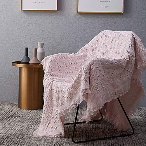 WENYAO Manta de sofá Manta de Tela de Color Liso/Simple, Funda de sofá Toalla de sofá Manta cálida de una Sola línea Grande para Adultos Niños y Perros, Rosa-180x340cm