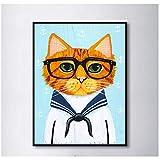 IGZAKER.Navy Blue Kostüm Nette Brille Katze Dekorative Gemälde Modulare Bild Wandmalerei auf Leinwand für Wohnzimmer (kein Rahmen) 60x80cm