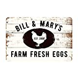 MAIYUAN Farm Fresh Eggs Sign Vintage Personalized Farmhouse Signs Decor Chicken Coop Decorations Egg for Sale Hen House Rustic Accessories Tin Wall Art 8 x 12 inch