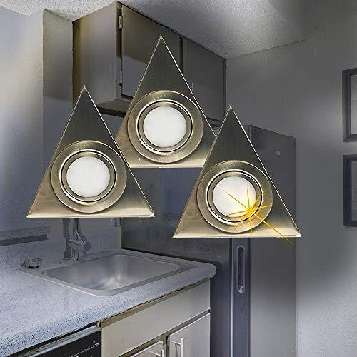 LED-Aufbau-Unterbau-Leuchte-Lampe Dreieck 3er Set Küchenleuchte 3x3W 3000K 230lm inkl. Trafo LED-Leuchte Küchenlampe