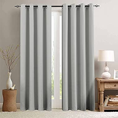 Moderate Blackout Curtains for Bedroom Room Darkening Window Curtain Panels for Living Room 84 inches Long Thermal Insulated Grommet Top Triple Weave Drapes, 1 Panel, Grey