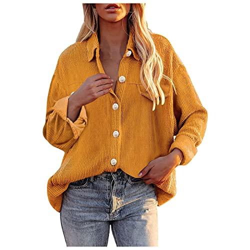 ZJRXM Women Corduroy Button Down Shacket Casual Ribbed Shirt Jacket Solid Color Long Sleeve Boyfriend Blouses Tops Coat Yellow