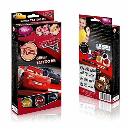 Disney Cars 3 Glittzertattooset 12 Amazing Schablonen – Hypoallergen, ohne Tierversuche hergestellt – für 8–18 Tage, temporäre Tattoos