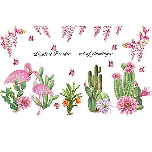 Qingmo Romántico Flamingo Cactus Pintura Decorativa Sala Creativa Pegatinas de Pared Sala Dormitorio Decoración de Niños para Diseño de Moda DIY Wall Decal