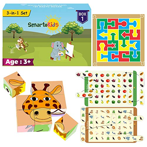 SmartoKids 3-in-1 Activity Set | 3+ Years | Box 1 of Games and Puzzles for 3 to 12 Year Old boy and Girl | Learning and Educational Gift Pack | Age - 3-12