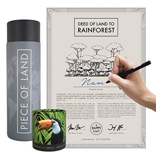 happylandgifts® 1m² di Vera Foresta pluviale in Costa Rica Come Regalo sostenibile   Certificato di proprietà con Il Nome Desiderato per registrarsi   Regali di Compleanno   Regali di Compleanno