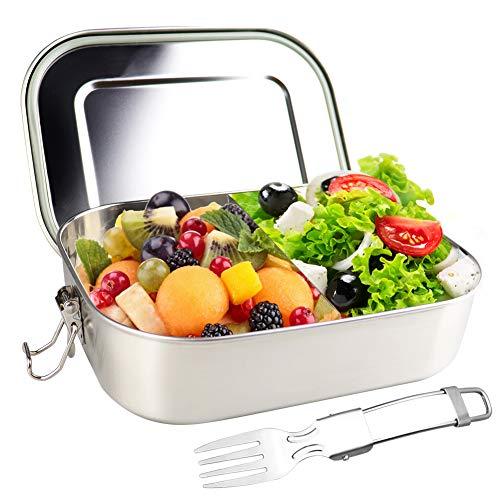 Anbaituor Edelstahl Brotdose - 1400ml Bento Box Metall Dichte Lunchbox mit Göffel für auslaufsicher Fassungsvermögen - Brotbox zum Wandern/Reisen/Schule Kinder und Erwachsen