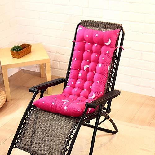 LINGRUI Zachte Zon Ligstoel Kussen Stoel Cover Lounge Pads Dikke Gevoerde Bank Kussen Patio Relaxer Kussen met Bevestigingsbanden, 110x40cm roosrood