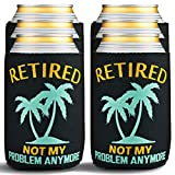 Retirement Gifts for Men & Women - Beverage Can Coolers - Vacation Beer Sleeves for Retirement Party Decorations & Supplies, Retired Gift Ideas - Insulated Drink Holder with Palm Tree Design, 6-Pack