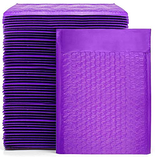 Nicunom 100 Pack Poly Bubble Mailers 6x10 Inch Self Seal Padded Envelopes Waterproof Shipping Envelopes, Purple
