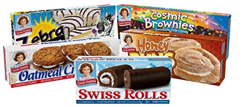 Little Debbie Variety Pack, Zebra Cakes, Cosmic Brownies, Honey Buns, Oatmeal Creme Pies, and Swiss Rolls (1 Box Each)
