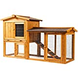 Ogrmar Chicken Coop Large Wooden Outdoor Bunny Rabbit Hutch Hen Cage with Ventilation Door, Removable Tray & Ramp Garden Backyard Pet House Chicken Nesting Box