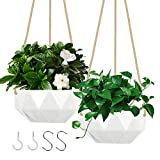AmyHomie Hanging Planter,2 Packs 8.5 Inches Ceramic Geometric Wall Hanging Basket Flower Plant Pots with 4 Hooks, Drainage Hole and Rope for Indoor and Outdoor Home Decor (8.5inch, White)