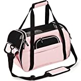 Pettom Soft-Sided Pet Carrier for Dogs Collapsible Cats Travel Bag Under Seat Airline Approved Tote Fleece Pet Mats Included Escape Proof -L Pink