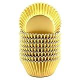 xlloest 200 pirottini di carta per muffin in lamina metallica standard, colore: oro
