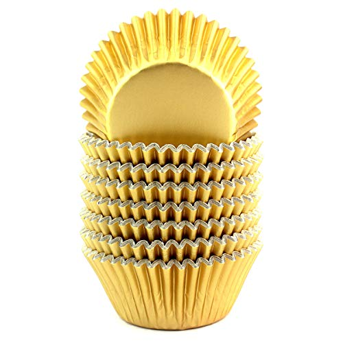 Foil Cupcake Liners Baking Cups Paper Standard Gold, 200 Pack