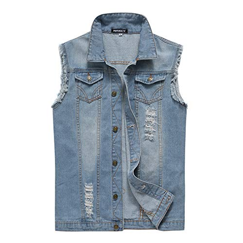 NASKY-Men's Fit Retro Ripped Denim Vest Sleeveless Jean Vest and Jacket (Light blue, US XX-Large)