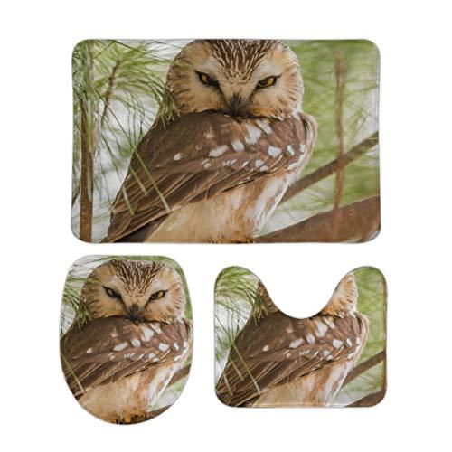 Alfombra bellamente Impresa, 15 '' × 25 '', Alfombra de Terciopelo Coral Tres Juegos, Angry Owl