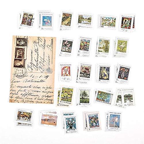 PMSMT 46 Stück Vintage Briefmarke Flake Aufkleber Set Tier Pflanze Wald Briefmarken Aufkleber für Journaling Scrapbook Notebook Crafts