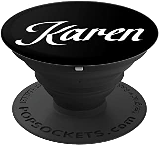 Karen Personalized White and Black Custom First Name PopSockets Grip and Stand for Phones and Tablets