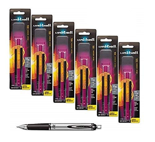 Uni-ball Signo Impact 207 Rt Retractable Refills Black Ink 10 Mm Bold Point 6 Packs of Refills 65873