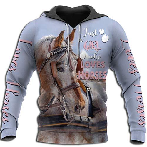 Animal Horse Indian Native 3D Sudadera con Capucha Impresa Hombres Casual Pullover Sudadera Hombre hoodies7 XL
