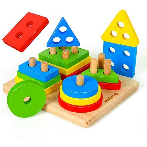 JIM - Forma geométrica Juego Cuatro Pieza cilíndrica de Juguetes,Educación Infantil Juguetes educativos