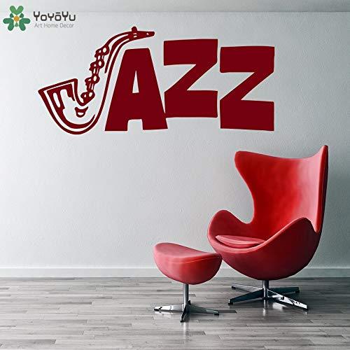 Fotobehang jazz logo muurschildering saxofoon patroon muursticker muziekstudio verwijderbare raam woondecoratie fashion design 138x63cm